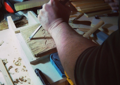 Carving the wooden printing block out of durmast